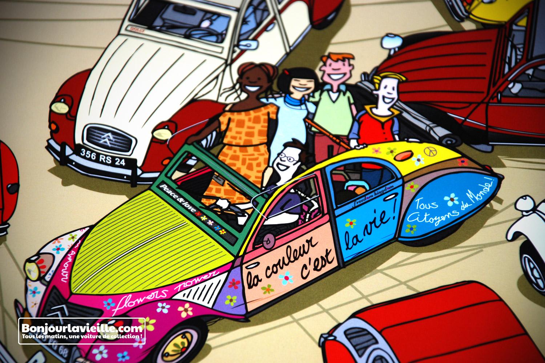 affiches  u00ab  u00c9volution  u00bb citro u00ebn 2cv  volkswagen combi  etc  de dabel