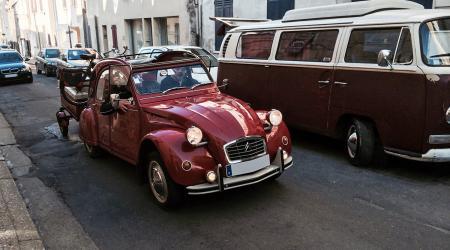 Citroën 2cv, remorque et Solex !